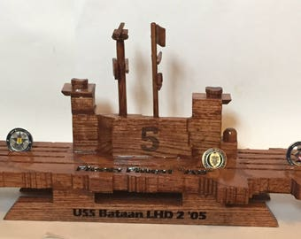 Navy Style Aircraft Carrier Coin Holder (USS Bataan LHD 2) other ships available
