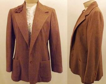 Handmade Vintage Wool Tweed Brown Riding Jacket Blazer Size L