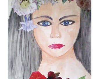 "Watercolor and collage ""Portrait of girl with flowers"" white framed figurative painting portrait girl"