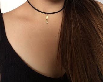 Gold Kitty Cat Suede Choker Necklace