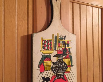 Vintage Cutting Board, For Decor, 70's Cat in Kitchen Beside the Stove.