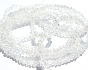 30 ROUND CLEAR IRIDESCENT CRYSTAL BEADS HAS FACETED 3 MM