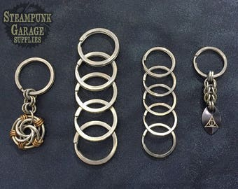 """x10 BEEFY Split Keyrings - Stainless Steel 1.25"""" across - for keychains"""