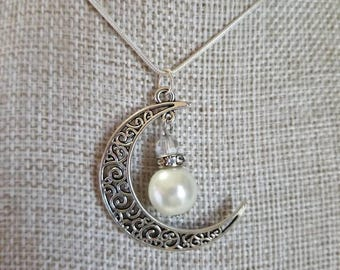 Crescent Moon and Pearl Necklace