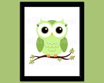 """Green Owl Art, YOU PRINT Nursery Owl Print, Printable Digital Download, Owl Room Decor, Owl Art Download, SIZE 8"""" x 10"""" Printable Image"""