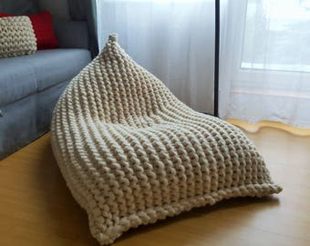 Chunky Merino Wool Off White XL Knitted Bean Bag Adult Chair Knit