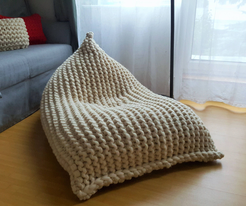 Chunky Merino Wool Off White XL Knitted Bean Bag / Adult Bean Bag Chair /  Knit