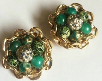 Vintage Green button cluster Earrings gold tone bead Button round clip on round gold chain midcentury 1950s 1960s fashion Fashionista