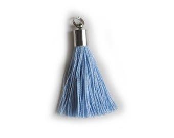 """Blue"" Pompom tassel charm"