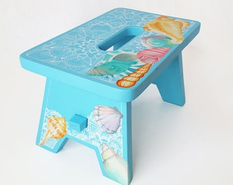 Wood Stool, Hand Painted, home decor