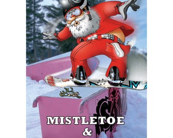 SNOWBOARD CHRISTMAS CARD - Mistletoe & Grind - Funny Christmas card