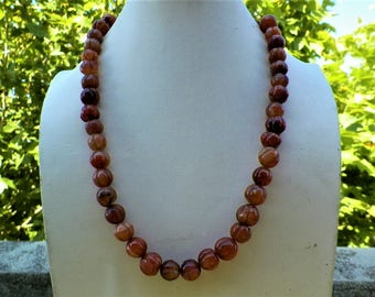Tibetan ethnic necklace in pearl carnelian size melon 1970s