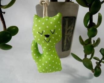 Cute fabric cat keyring , kitten keyring,