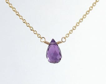 Simple Birthstone Necklace -  Amethyst Necklaces for Women - Dainty Amethyst Necklace - Birthstone Jewelry for Women