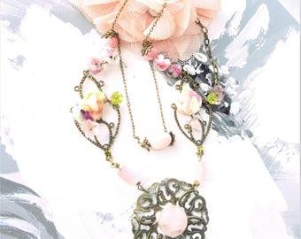 Designer necklace fantasy, romantic vintage beads, silk, bronze and purple rose necklace