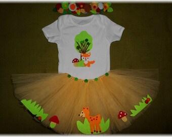 Woodland Tutu Outfit, Smashing the Cake Birthday Set, Woodland Girl Photo Prop, Woodland Baby Shower Gift