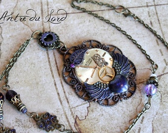 "Collier steampunk romantique ""Love your heart"""