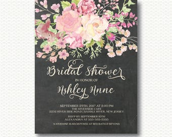 Pink Flowers Bridal Shower Invitation, Flowers, Floral, Chic, Modern, Typography, Digital, Printable, Pink, Watercolor, Chalkboard, wedding