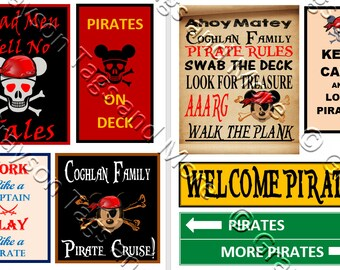8 Disney Cruise Line Pirate Signs Door Magnets - Group Y