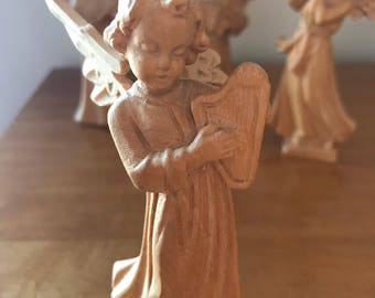 Antique German Carved Natural Wood Angel Playing Harp Musical Instrument | W. u. M Heinzeller Wooden Carved Angel | Vintage Wooden Angel
