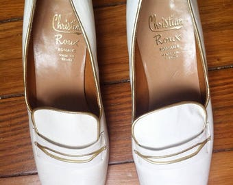 french 60s white & gold leather pumps loafers shoes / 6,5 UK 8 US 40 FR