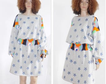 Originale Sweat Dress!! WAXSTAR!! gris bleu en coton imprime stars et tissu wax Taille. 40 belicious-delicious-creation