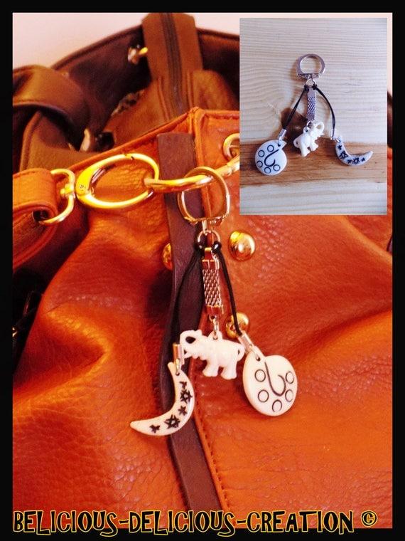 Original jewelry bag Keyring! ELLEMOONSHELL! bone rooftop and metal, white bone carved long 7.5 cm