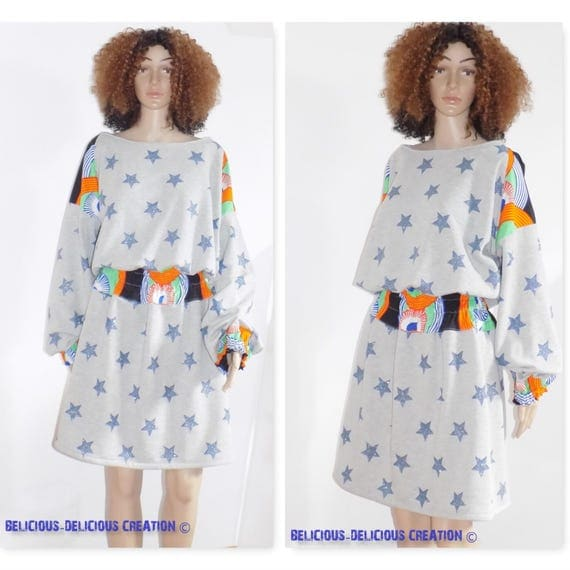 Original Sweatshirt Dress! WAXSTAR! Gray blue cotton printed stars and size African fabric. 40 belicious-delicious-creation