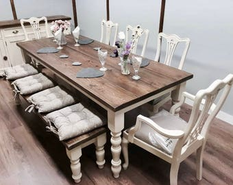 Bespoke farmhouse Christmas bake off dining table & chairs 6ft 7ft 8ft 9ft with Bench