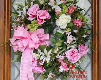 ON SALE Spring Wreath, Summer Wreath, Spring Silk Wreath, Pink and White Wreath