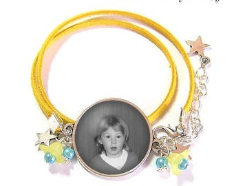 To personalize: Bracelet 2 turns with a glass cabochon 25 mm