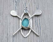Light Blue Lake Erie Beach Glass Kayak Necklace in Sterling Silver