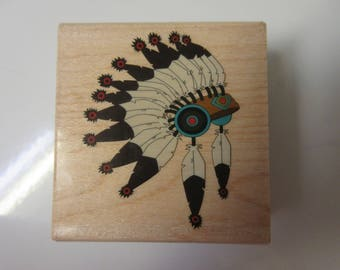 Indian Headdress Rubber Stamp-Native American Stamp-Native American Headdress Stamp