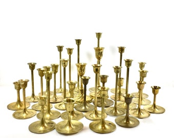 Vintage Brass Candlestick Lot 30 Candlesticks Wedding Holiday Table Decor Gold Candle Holders Mid Century Design FREE SHIP USA