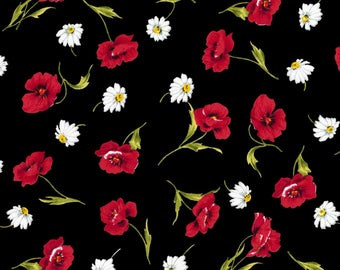 David Textile Red and Black Poppies 117664RH3 Cotton Quilting Fabric by the Yard - listing is for 1 Yard - DP