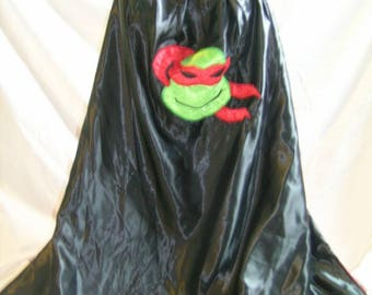 Red turtle supehero cape, masked turtle, ninja mask,  handmade, costume, birthday, christmas, raph, christmas present, dress up, adults cape