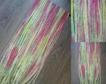 25DE long rainbow colour wool dreads