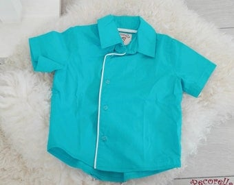 Boy's short sleeves shirt turquoise