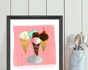 Illustration ''ice cream'' by Mélanie Ouellette – Sweet desserts for special days series