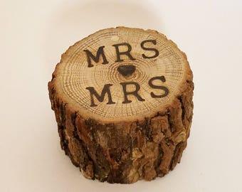 Wood Rustic ring Bearer Box ~ Wedding MRS  Loves MRS Ring bearer Pillow ~ Reclaimed Oak ring pillow ~ Rustic country Woodland wedding