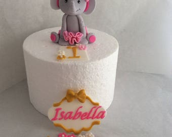 Fondant Elephant with Bow and Tutu Name Plaque and Flowers