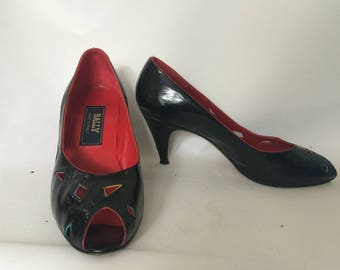 Vintage shoes 80s Bally Made in England black patent leather peep toe stiletto heel pumps  size UK 4.5 EU 37.5 US 6.5