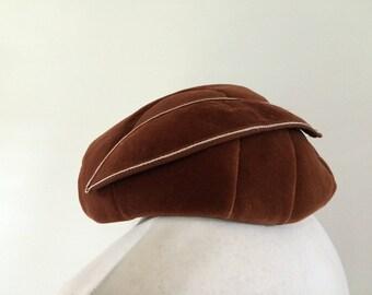 Vintage hat 50s 60s Connor Made in England rust velvet hat