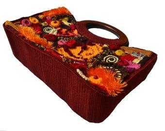 Wooden Handles Bag Free-form Crochet Purse - Multicolor Bag Bang - Colorful Women's Handbag - Unique Handmade Art Yarn Bag - ItWasYarn Purse