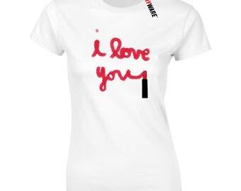 I Love You Lipstick Make Up Writing Design Cute Ladies Ryware Soft Cotton T-Shirt