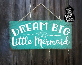 dream big little mermaid, girls room decor, dream big little mermaid wall art, mermaid room, mermaid room decoration kids, little mermaid
