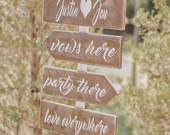 SUMMER SALE Wedding arrow signs - Wedding directional signs - directional wedding signs - rustic wedding signs - wedding signage - ceremony