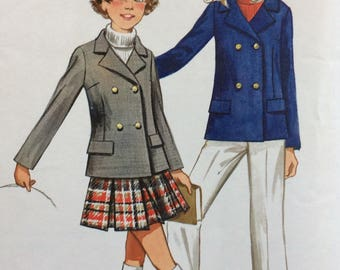 Butterick 5574 girls jacket, skirt & pants size 8 or size 10 or size 14 vintage 1970's sewing pattern  Uncut  Factory folds
