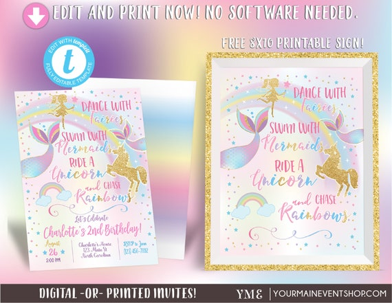 Unicorn Mermaid and Fairy Birthday Invitation, Dance With Fairies Ride A Unicorn Swim With Mermaids Chase Rainbows Magical Party Sign