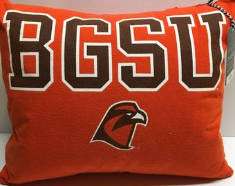 Bowling Green, ohio university tshirt Pillow 14x16 Upcycled One of a Kind
